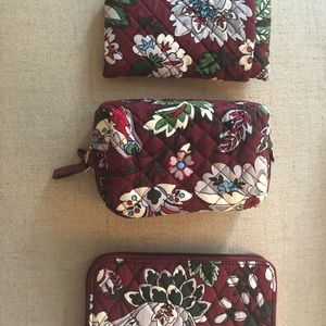4 Matching Vera Bradley Pieces in Bordeaux Blooms